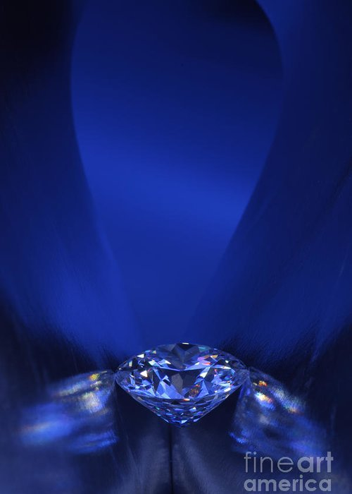 Abundance Greeting Card featuring the jewelry Blue Diamond In Blue Light by Atiketta Sangasaeng
