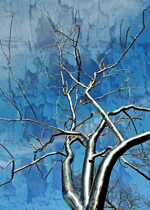 Tree Greeting Card featuring the pyrography Blue Dream by Marty Koch