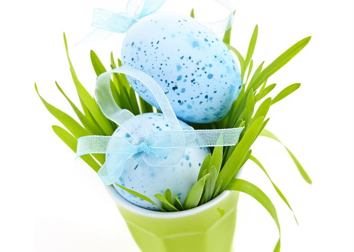 Easter Greeting Card featuring the photograph Blue Easter Eggs And Green Grass by Elena Elisseeva