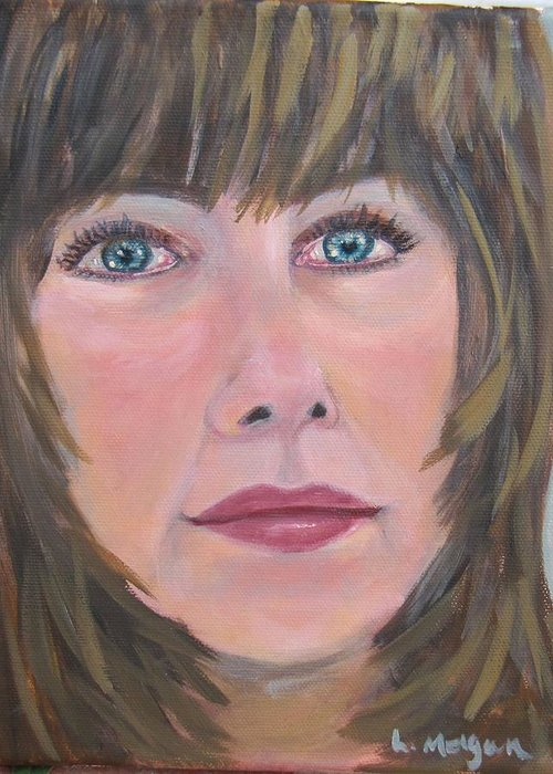 Portrait Greeting Card featuring the painting Blue Eyes by Laurie Morgan