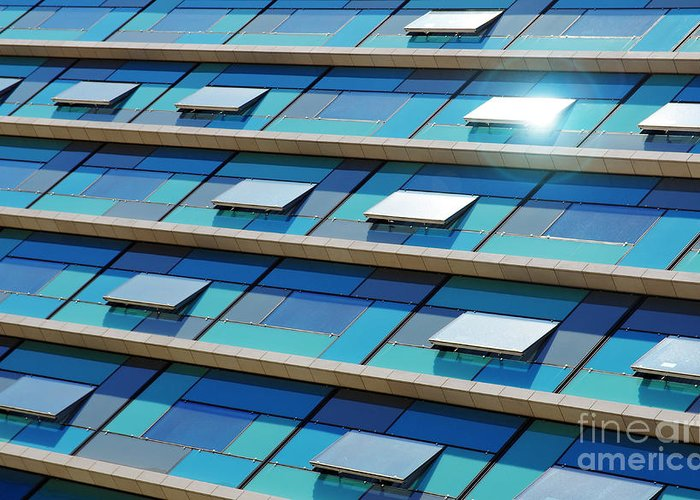 Abstract Greeting Card featuring the photograph Blue Facade by Carlos Caetano
