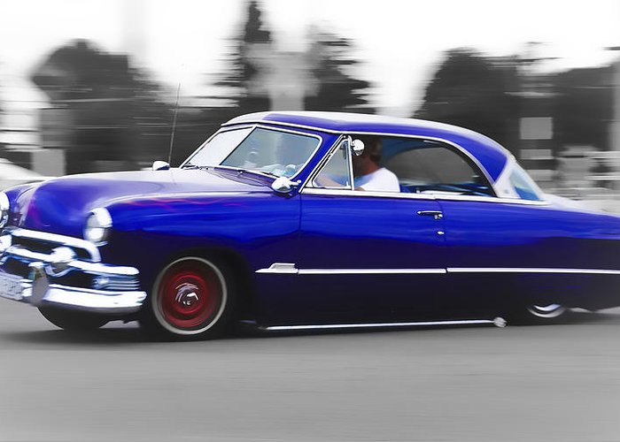 Ford Customline Greeting Card featuring the photograph Blue Ford Customline by Phil 'motography' Clark