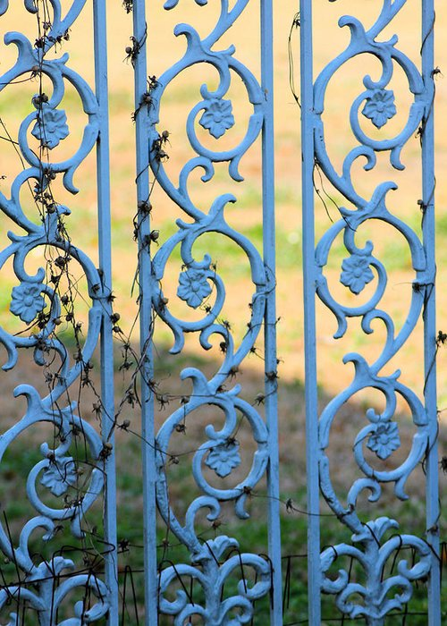 Blue Greeting Card featuring the photograph Blue Gate Swirls by Karen Wagner