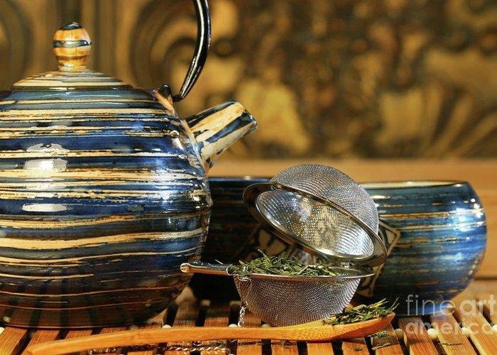 Asia Greeting Card featuring the photograph Blue Japanese Teapot by Sandra Cunningham