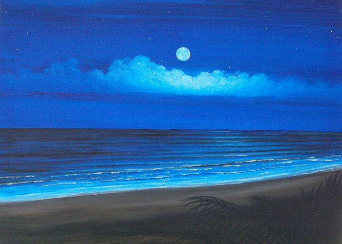 Tropical Night On Beach Greeting Card featuring the painting Blue Moon by Delia Birnhak Swenson