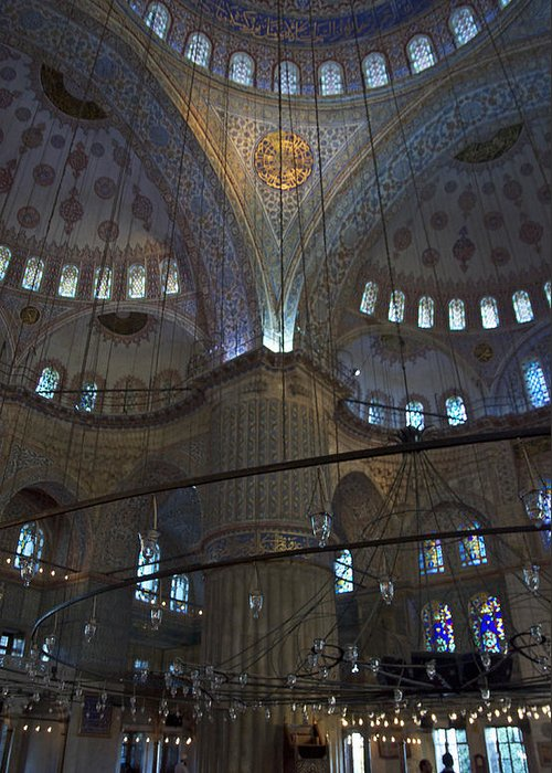 Blue Mosque Greeting Card featuring the photograph Blue Mosque Interior by Cheri Randolph