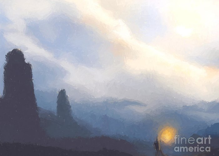Mountains Greeting Card featuring the painting Blue Mountains by Pixel Chimp