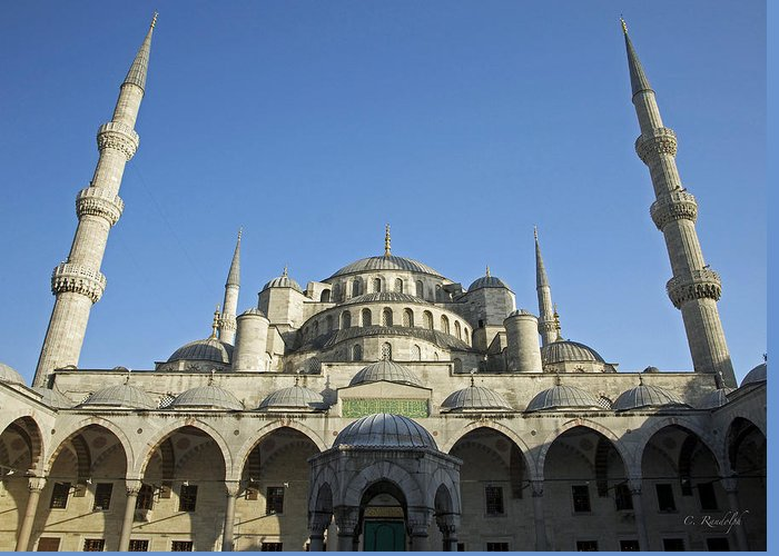 Blue Mosque Greeting Card featuring the photograph Blue On Blue by Cheri Randolph