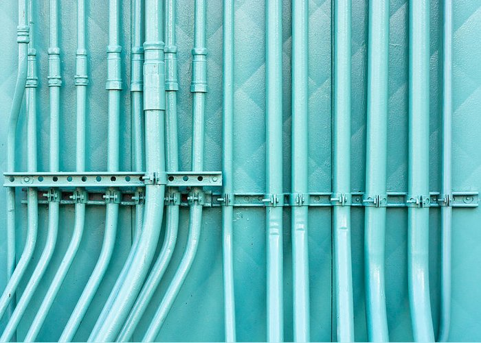 Background Greeting Card featuring the photograph Blue Pipes by Tom Gowanlock