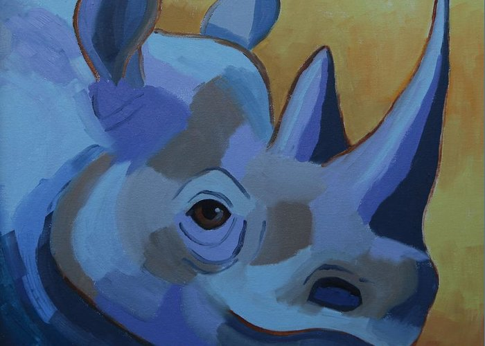 Blue Greeting Card featuring the painting Blue Rhino by Cilla Mays