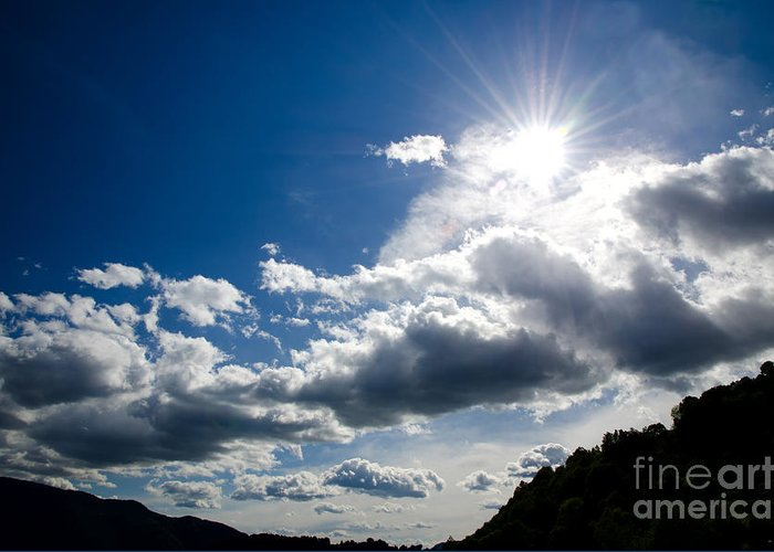 Blue Greeting Card featuring the photograph Blue Sky With Clouds by Mats Silvan