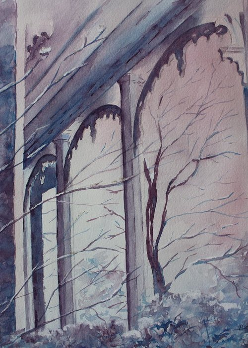 Snow Scene Greeting Card featuring the painting Blue Snow by Patsy Sharpe