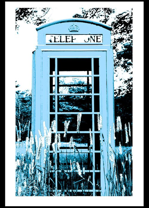 Red Telephone Booth Greeting Card featuring the photograph Blue Telephone Booth In A Field In Maine by Kara Ray