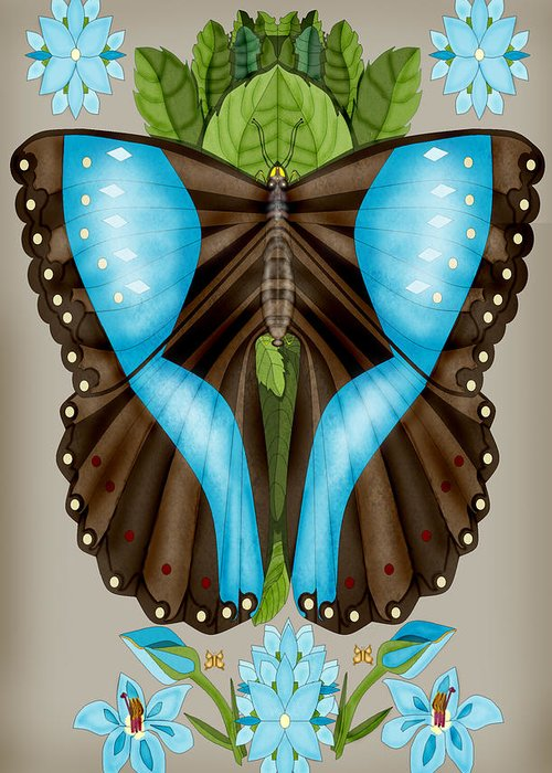 Anne Norskog Hand-drawn Original Digital Art Greeting Card featuring the painting Blue Tiled Butterfly by Anne Norskog
