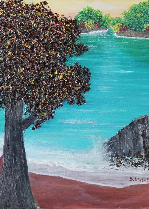 Ocean Greeting Card featuring the painting Blue Waters by Debbie Levene