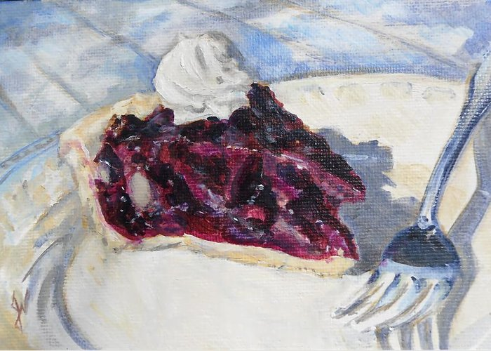 Oil Still Life Food Summer Fruit Picnic Dessert Pie Greeting Card featuring the painting Blueberry Pie by John Norman Williams