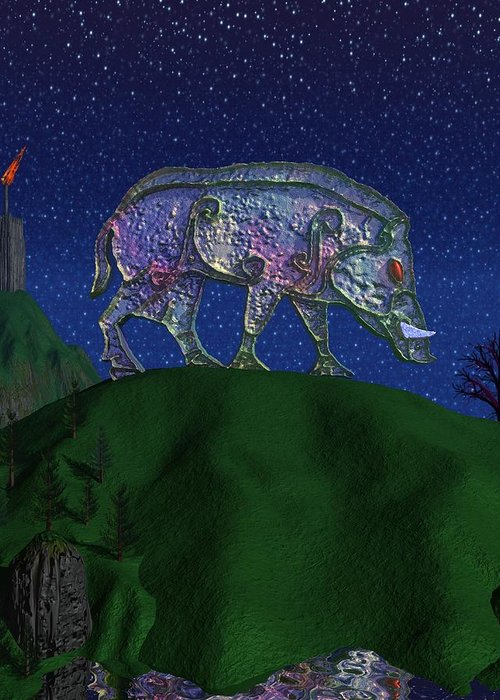 Boar Greeting Card featuring the painting Boar King by Diana Morningstar
