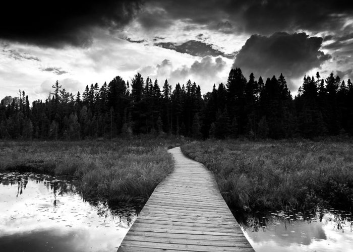 Black And White Greeting Card featuring the photograph Boardwalk by Cale Best