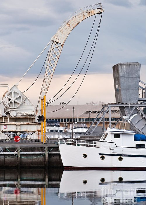 Australia Greeting Card featuring the photograph Boat And Old Crane Reflections by David Lade