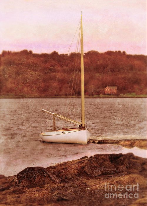 Boat Greeting Card featuring the photograph Boat Docked On The River by Jill Battaglia