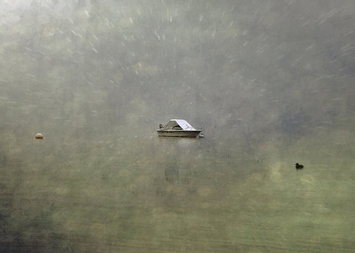 Boat Greeting Card featuring the photograph Boat In The Snow by Joana Kruse