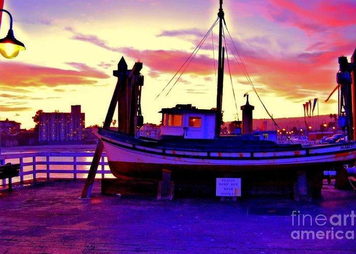 Blue Greeting Card featuring the photograph Boat On Santa Cruz Wharf by Garnett Jaeger