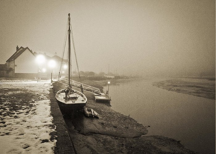 Essex Greeting Card featuring the photograph Boat On Wintry Quay by Gary Eason