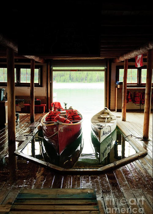Greeting Card featuring the photograph Boathouse At Maligne Lake by Ginevre Smith