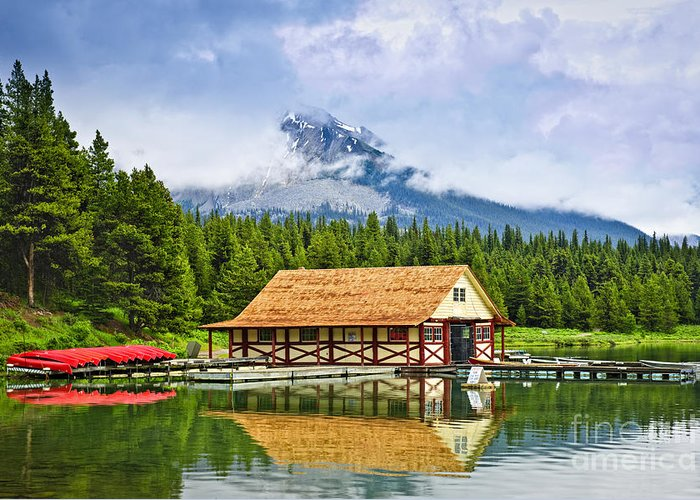 Boat House Greeting Card featuring the photograph Boathouse On Mountain Lake by Elena Elisseeva
