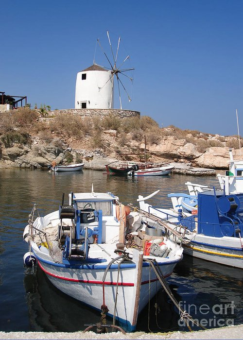 Aegean Greeting Card featuring the photograph Boats And Windmill by Jane Rix
