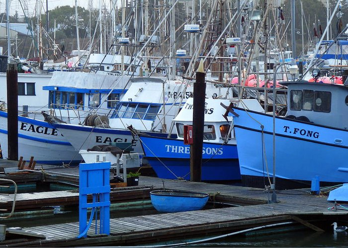 Ships At Anchor Greeting Card featuring the photograph Boats Docked In Harbor by Jeff Lowe