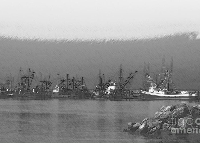 Boats In Harbor Charcoal Greeting Card featuring the digital art Boats In Harbor Charcoal by Chalet Roome-Rigdon
