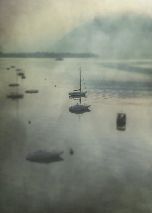 Boat Greeting Card featuring the photograph Boats In Mist by Joana Kruse