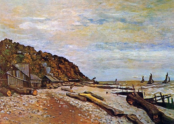 Boatyard Near Honfleur Greeting Card featuring the painting Boatyard Near Honfleur by Claude Monet