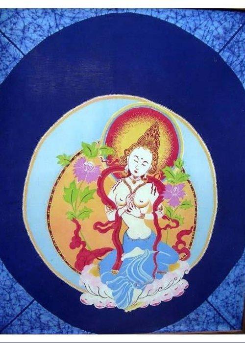 Bodhisatva Greeting Card featuring the tapestry - textile Boddhisatva by Elisabeth Van der Horst