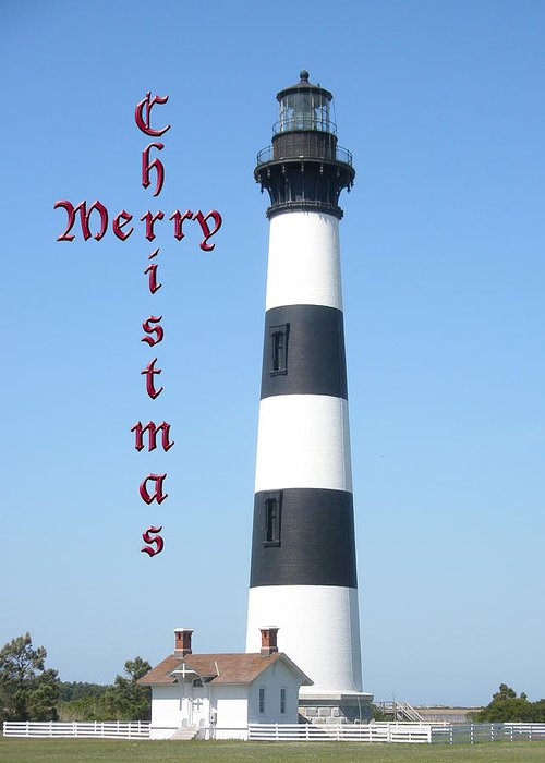 Christmas Greeting Card featuring the photograph Bodie Lighthouse - Outer Banks - Christmas Card by Mother Nature