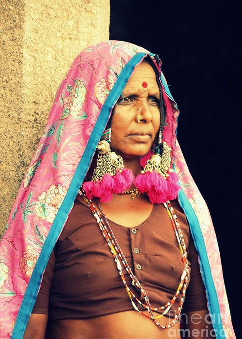 Portrait Greeting Card featuring the photograph Bohemian by Vishakha Bhagat