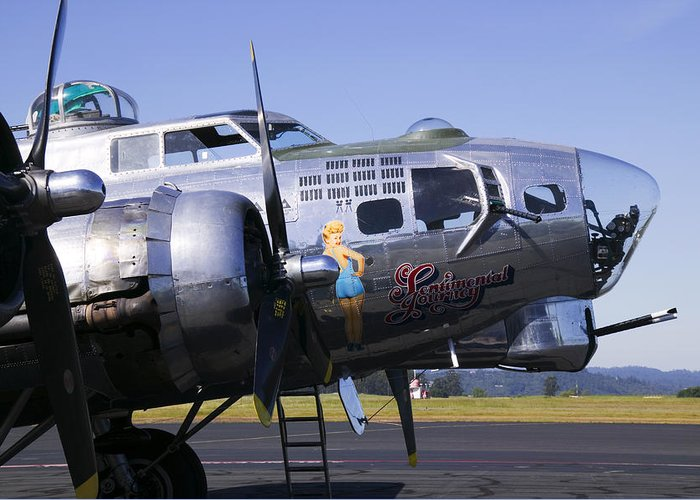 B-17g Sonoma Airport Greeting Card featuring the photograph Bomber Sentimental Journey by Garry Gay