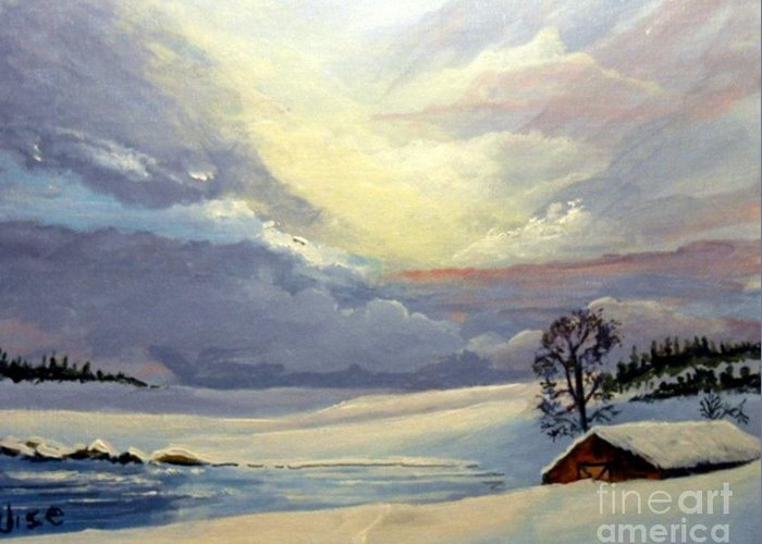 Sunrise Greeting Card featuring the painting Bone Cold by John Wise