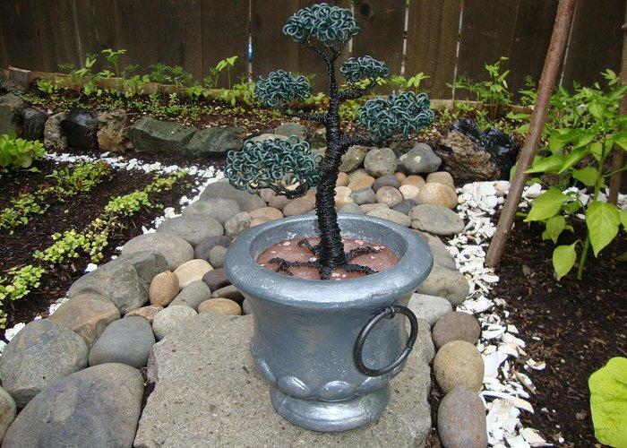 Tree Greeting Card featuring the sculpture Bonsai Tree Medium Silver Vase by Scott Faucett