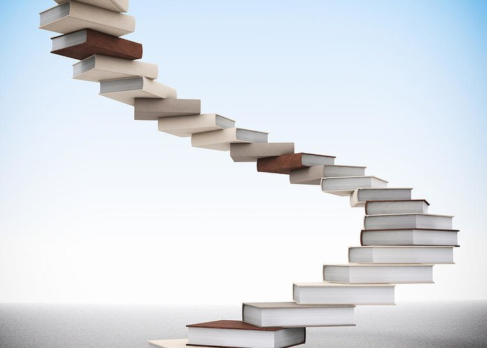 Book Greeting Card featuring the photograph Book Stair by Gualtiero Boffi