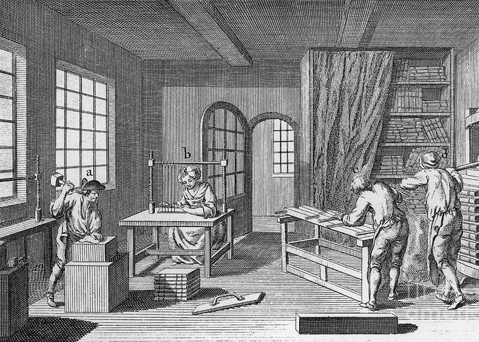 1763 Greeting Card featuring the photograph Bookbinder, 1763 by Granger