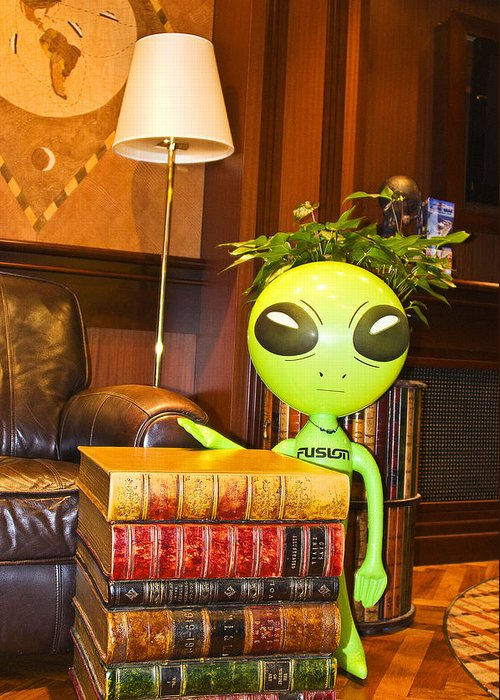 Alien Greeting Card featuring the photograph Bookworm Alien by Richard Henne