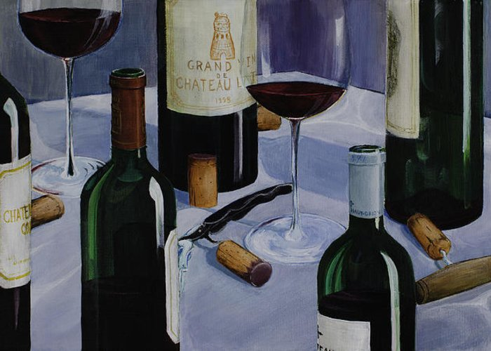 Wine Greeting Card featuring the painting Bordeaux by Geoff Powell