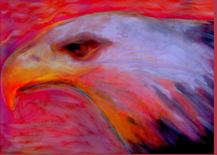Eagle Birds Wildlife Native American Totem Greeting Card featuring the painting Born Into Extinction by FeatherStone Studio Julie A Miller