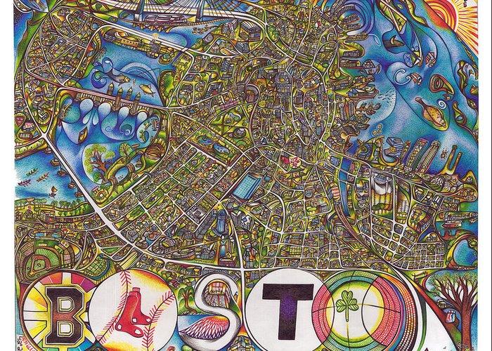 Boston Greeting Card featuring the drawing Boston Art Map by Jonathan 'DiNo' DiNapoli