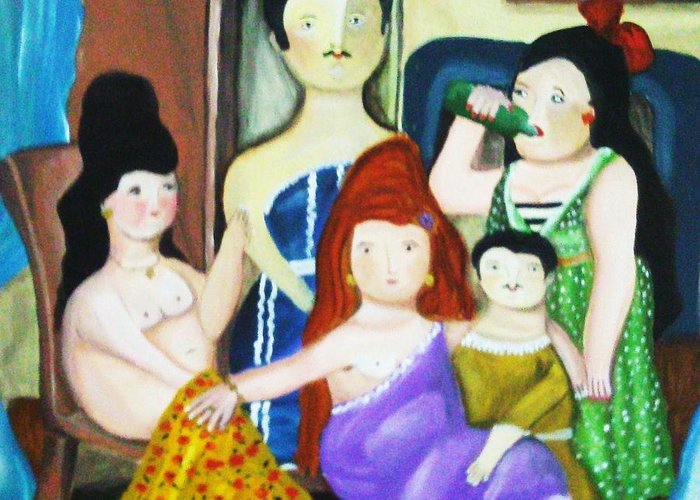 Family Greeting Card featuring the painting Botero Style Family by Vickie Meza