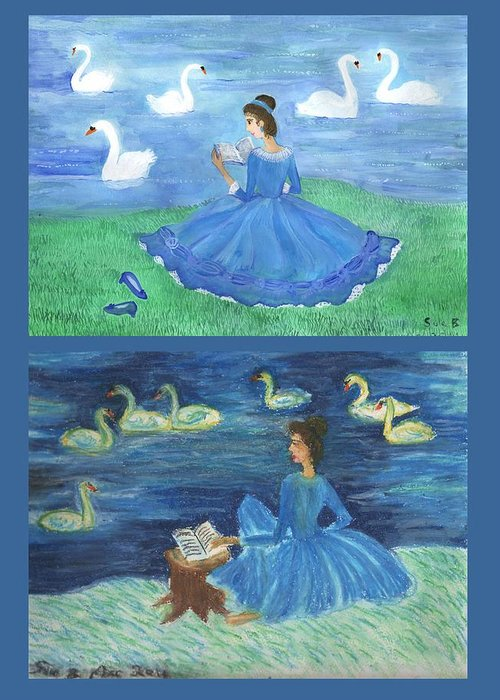 Swans Greeting Card featuring the painting Both Swan Lake Readers by Sushila Burgess