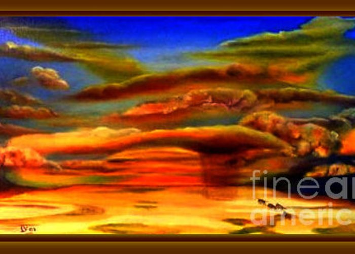 Landscape Greeting Card featuring the painting Botswana Dessert Following The Rain by Willem Boogaard