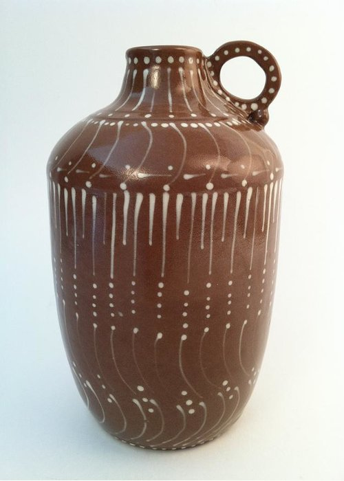 Art Greeting Card featuring the ceramic art Bottle Of Deep Red Clay With White Slip Decoration And A Handle by Carolyn Coffey Wallace